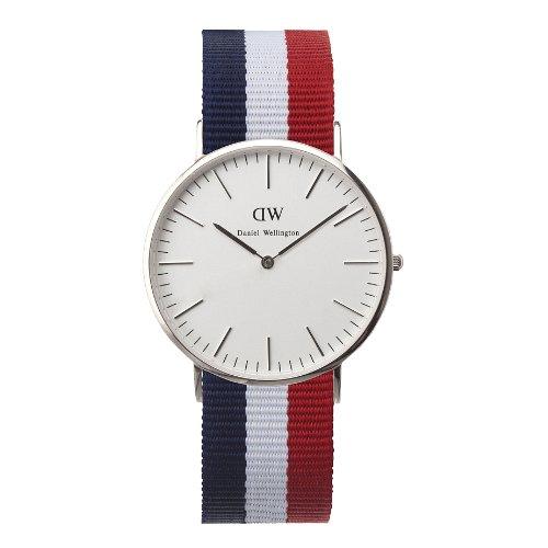 Daniel Wellington Classic Cambridge, Reloj Azul-Blanco-Rojo/Oro Rosado, 40mm, NATO, para Hombre