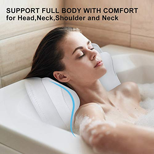 Full Body Bath Pillow, Non-Slip Spa Bathtub Mat Mattress Pad with Extra Thick Head Pillow, Luxury Extra Large Bath Pillow Support Neck, Shoulder, Back for All Bathtub, Hot Tub, Jacuzzi, Home Spa