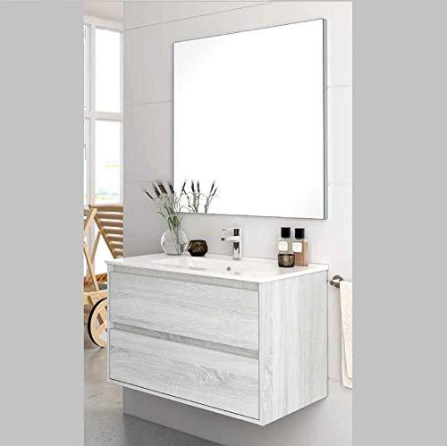 Aquore Mueble de Baño con Lavabo y Espejo | Mueble Baño Modelo Balton 2 Cajones Suspendido | Muebles de Baño | Diferentes Acabados Color | Varias Medidas (Hibernian, 60 cm)