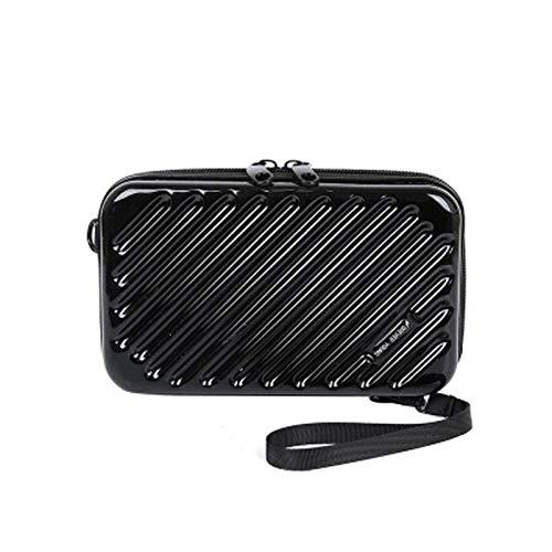 Alamy bolso de hombro para mujer-bolso diagonal de charol de cuero de pu-mini bolsa-bolsa de equipaje-estuche de cosméticos de cadena para mujer (negro, 12 * 18 * 5cm,)