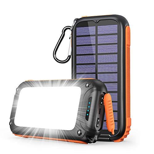 A ADDTOP Cargador Solar 26800mAh, Batería Externa con 3 Puertos Solar Power Bank con 32 Leds Luce Power Bank Portatil para iPhone, iPad, Samsung Galaxy, Huawei, LG y más