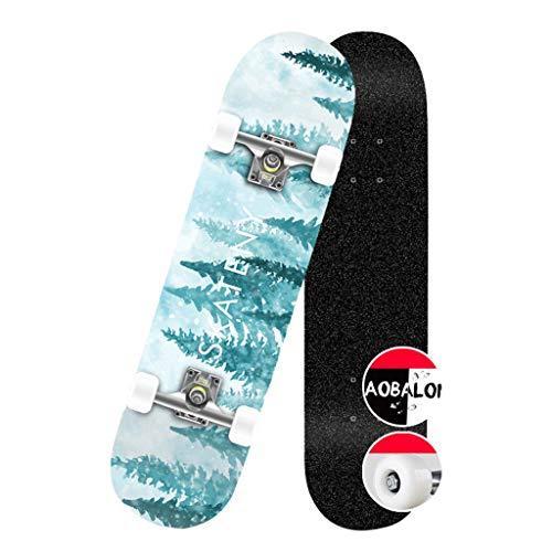 LZY Tabla de Skate Skateboard Pro Complete 31 Pulgadas Skateboard 9 Pisos Maple Wood Double Kick Trucos para Adolescentes Adultos Principiantes Carga máxima 330 LB