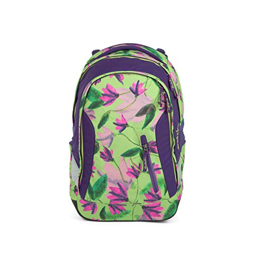 satch Sleek Ivy Blossom, ergonomischer Schulrucksack, 24 Liter, extra schlank, Grün