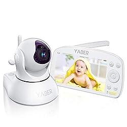 Babyphone mit Kamera, YABER 5,5 Zoll Baby Monitor Video Überwachung, 1080P IPS FHD Display, 5000 mAh Akku, Nachtsicht, Weitwinkelobjektiv, 300M Reichweite, Zwei Wege Audio (Weiß)