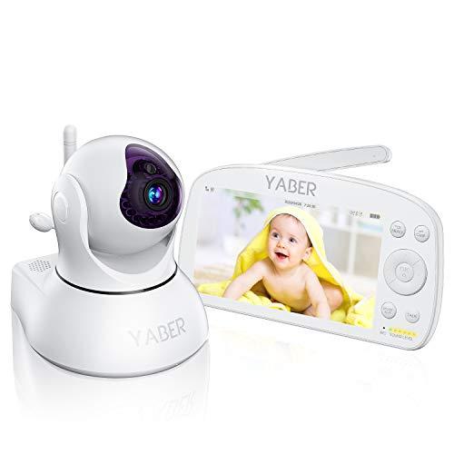 Babyphone mit Kamera 1080P, YABER 5,5 Zoll Baby Monitor Video Überwachung, 1920 * 1080P IPS FHD Display, 5000 mAh Akku, Nachtsicht, Weitwinkelobjektiv, 300M Reichweite, Zwei Wege Audio (Weiß)