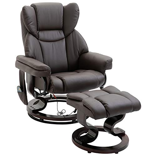 HOMCOM Massage Recliner Chair with Footrest, 10 Vibration Levels, Faux...