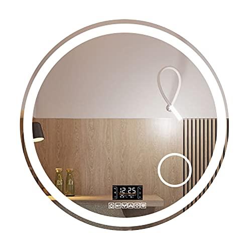 GETZ Ronda Moderna Espejo Baño LED Iluminado, Iluminada Espejo de Tocador con Sensor Touch Control, 3 Luces de Color y Brillo Ajustable, IP44