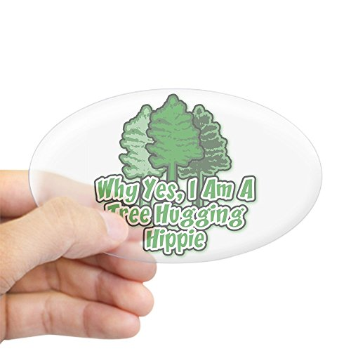 CafePress Tree Hugging Hippie Oval Sticker Oval Bumper Sticker, Euro Oval Car Decal
