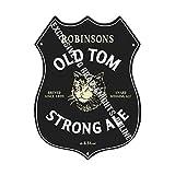 Robinson's Old Tom Forte Ale. Stockport. Birra pubblicità Bar Vecchio Pub Bevande Pompa Distintivo Brewery Botte Keg Draught Real Ale Pinta Alcool Luppolo Forma Metallo/Targa da Parete in Acciaio
