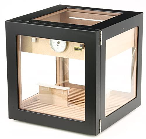 ADORINI Cube Deluxe Black, bis zu 100 Zigarren - Schwarz - Humidor mit Haar-Hygrometer und Befeuchtersystem