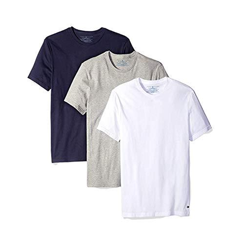 Tommy Hilfiger Mens 3 Pack Crew Neck Undershirts (M, White Grey Navy)