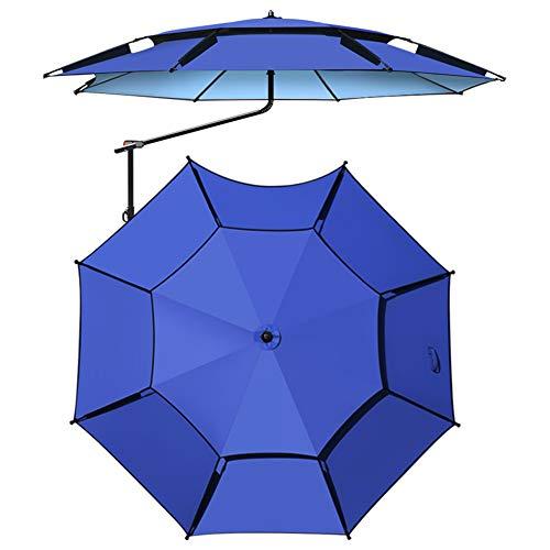 CYY Sombrilla de Pesca con Inclinación de 360°,Sombrilla de Playa con Protección UV de 2.4 M con Bolsa de Almacenamiento,para Terraza Jardín Piscina Patio(Azul)