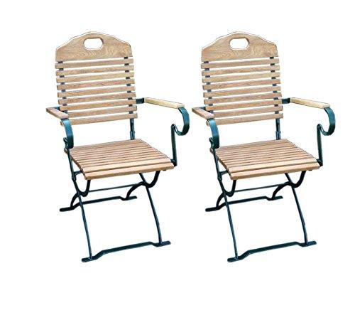 lifestyle4living Biergartenstuhl 2er Set aus Robinienholz, Gestell aus Flach-Stahl,klappar | Hochwertiger wetterfester Gartenstuhl mit Armlehnen (Gastronomie geeignet)