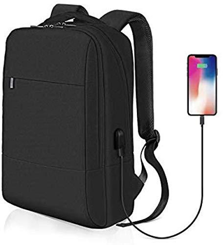 USBポート付き男性女性ラップトップバックパック-オフィス、職場、学校のビジネスラップトップバックパックに最適なナイロンバックパック(26L)