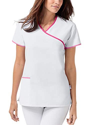 CLINIC DRESS Schlupfkasack Damen Schlupfkasack 1/2 Arm 60° Wäsche weiß/pink/Rosy pink S