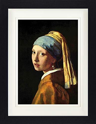 1art1 Johannes Vermeer - Das Mädchen Mit Dem Perlenohrring, 1665 Gerahmtes Bild Mit Edlem Passepartout | Wand-Bilder | Kunstdruck Poster Im Bilderrahmen 40 x 30 cm