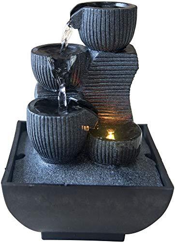 Zen Light - Kini, Fontana da Interno con Pompa e Illuminazione a LED, in Resina, Taglia Unica
