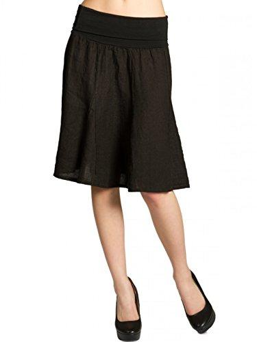 Caspar RO014 Damen Leinenrock mit figurfreundlichem Stretch Bund, Farbe:schwarz, Größe:One Size
