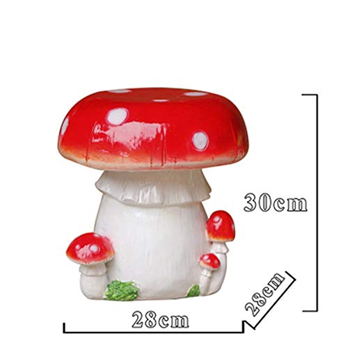 White wolf Colorful Mushroom Stools and Chairs Fiberglass Sculpture Garden Outdoor Patio Decoration Products Cartoon Casual Decoration (Color : B)