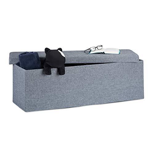 Relaxdays Faltbare Sitzbank XXL, Sitzcube mit Stauraum, Sitzwürfel aus Leinen, mit Deckel, HBT 38x114x38 cm, dunkelgrau