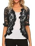 ELESOL Womens Cardigan Sweaters Ruffle Sleeve Boleros Sheer Shrug Plus Size Black XXL