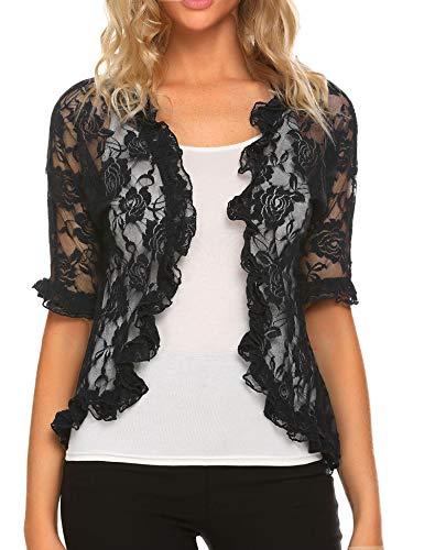 ELESOL Bolero Cardigans for Women Lace Shrug Half Sleeve Elegant Ruffle Open Front Jackets Black M
