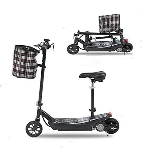 Scooters eléctricos con asiento, Scooter Eletric Adulto y Niños, E-Scooter plegable ligero con neumáticos de 6.5 pulgadas de velocidad rápida 18 km/h con pantalla LCD para faros delanteros.