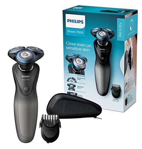Philips S7960/17 Elektrischer Nass- und Trockenrasierer mit GentlePrecision Pro-Schersystem, SmartClick-Bartstyler und Reiseetui
