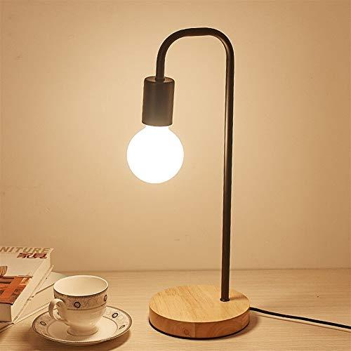 Nordic Modern Houten Bureau Licht houten Nachtkastje Lampen for de woonkamer Simple verlichtingsarmaturen forRoom Decor op uit schakelaar (Color : Iron base, Size : Black)