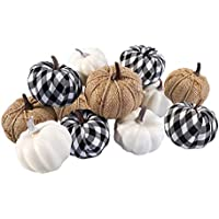 12-Pieces Ticlooc Mixed Artificial Fake Harvest Pumpkins for Fall Wedding Thanksgiving Halloween Fireplace Decoration
