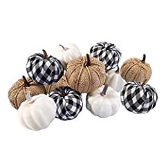 "Package Include: 4pcs white pumpkins, 4pcs burlap pumpkins, 4 black-white checkered pumpkins. Size: 3.35""in diameter, 2.75""in height. Suitable for fall tabletop decorations, seasonal bowl display, Thanksgiving dinner centerpiece,banquet place card se..."