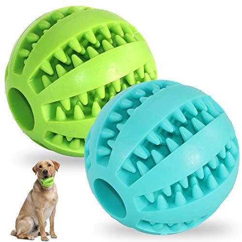 Pelota De Juguete Para Perros 2 PCS Mascotas Pelotas De Juguetes Para Perros, Bola De Comida Para Perros De Goma Resistente a Mordeduras No Tóxicas,Para Limpieza De Dientes, Bola De Entrenamiento IQ