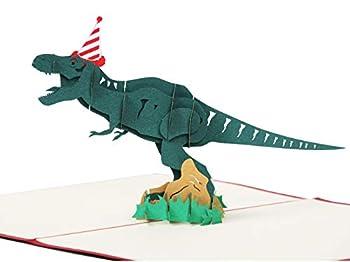 LANGXUN 3D Pop Up Dinosaur Happy Birthday Card Jurassic Tyrannosaurus Card Personalized Kid Funny Greeting Cards Birthday