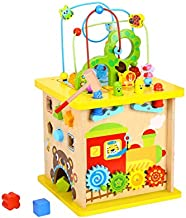 Pidoko Kids Wooden Activity Cube - Fun Forest Theme Toy for Baby Toddlers Boys and Girls