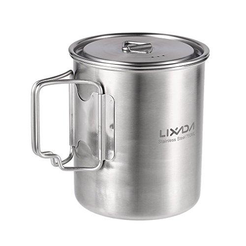 Lixada Outdoor Tasse en Acier Inoxydable, 750ml Coupe d'eau avec poignées Pliables et Couvercle pour Camping randonnée Sac à Dos