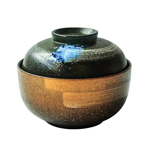 DZNOY Vajilla, Cuenco de cerámica de 6.5 Pulgadas con Tapa Home Ramen Bowl Cuisine Sopa Soup Bowl Fruit Bowl Set Cuenco de cerámica