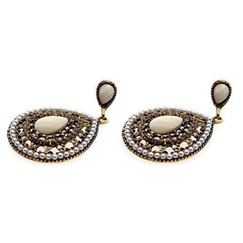 VANKER Vintage Bohême Style Diamant Évider Boucle d'oreille Résine Coeur Perlé Beige