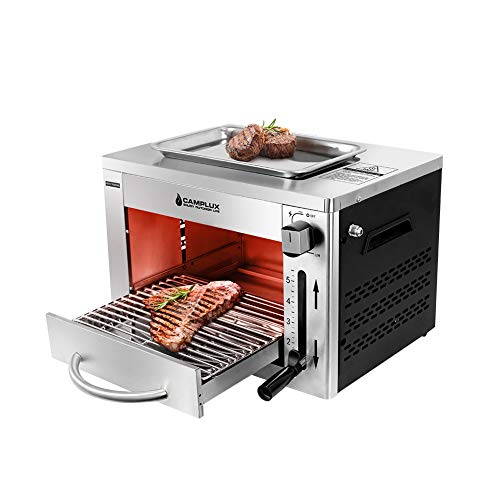 Camplux Propane Infrared Steak Grill,1600℉ Fast Efficient Heating Outdoor Portable Gas Grill with Vertical Cooking,Stainless Steel Single Burner Propane Gas Grill,Perfect for Steak,Ribeyes,Picnic,BBQ Grills Propane