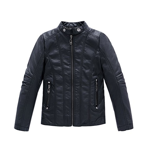 YoungSoul Jungen Bikerjacke aus Kunstleder Frühjahr & Herbst Kinder Kragen Motorrad Lederimitat Mantel Gesteppt Schwarz Etikettengröße 150cm