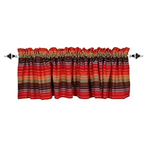 Valance Curtain, Salsa Red Multi Stripe Pattern Valance, Extra Wide and Short Window Treatment for Kitchen Living Dining Room Bathroom Kids Girl Baby Nursery Bedroom – 72 x 16 Set of 2