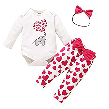 Baby Girls Valentine s Day Outfits Elephant Long Sleeve Romper + Bowknot Love Heart Pants 3Pcs Clothes Set  White 0-3Months