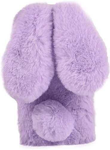 Xifanzi Caja del teléfono de Conejo para Samsung Galaxy A32 5G Funda Protectora de Piel Suave y Esponjosa Caja del Teléfono Peluda Difusa con Bolas Suave Mullido Caso Estuches Galaxy A32 5G,Púrpura