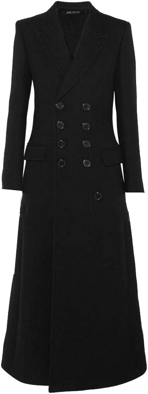 GAGA Womens Elegant Long Sleeve Coat Long DoubleBreasted Pea Coat Overcoat