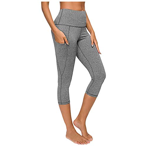 Find Discount Workout Capris with Pockets for Women - Out Pocket High Waist Yoga Pants, Tummy Contro...