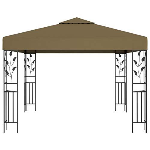 Kshzmoto Pabellón al Aire Libre con Estructura de Marco de Acero, Material de Fibra de poliéster pabellón pabellón para Fiestas pabellón de jardín 3 x 3 x 2,5 m-Taupe