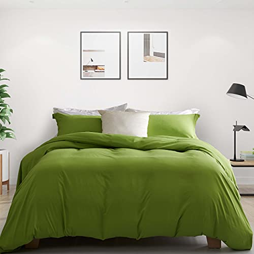Ousidan 3 Pieces Duvet Cover Set Lime Green Bedding Set Full/Queen Size Skin-Friendly Brushed Microfiber Comforter Cover 1 Soft Cover 2 Pillow Cases with Concealed Button Closure and Ties-90x90inches