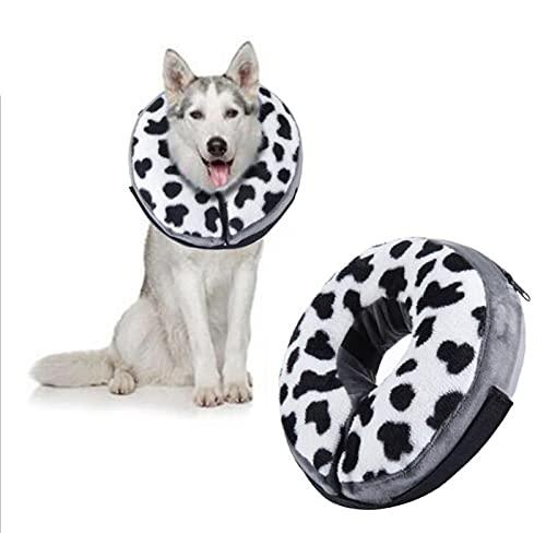 Soapow Collar de recuperación de mascotas suave con forma de cono inflable para perros y gatos