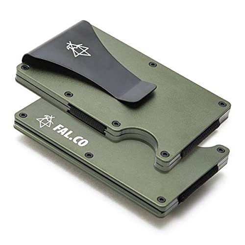 FAL.CO (ファルコ) ミニマリスト マネークリップ アウトドア ウォレット 財布 軽量 大容量 コンパクト キャンプ アルミニウム スキミング防止 カード入れ ギフト 磁気防止 (Green)