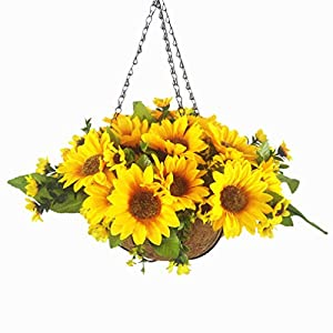 Mynse Set of Artificial Sunflowers Hanging Coco Basket with Chain for Balcony Home Decoration, Orange