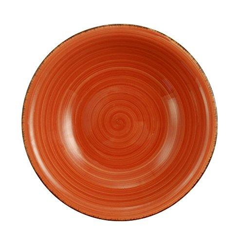 Villa D'Este Baita Service, Assiettes Creuses, Orange, 21 cm, Lot de 6